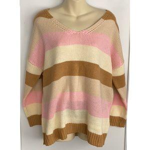 Multiple Stripe oversized Knit Sweater Size Medium